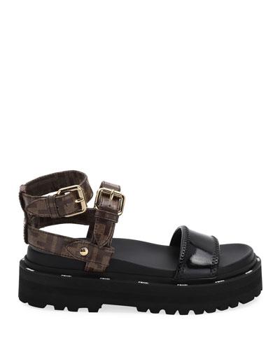 Flatform FF Ankle-Strap Sandals