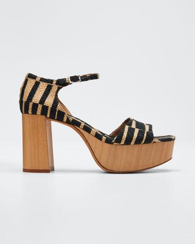 Patton Striped Raffia Sandals
