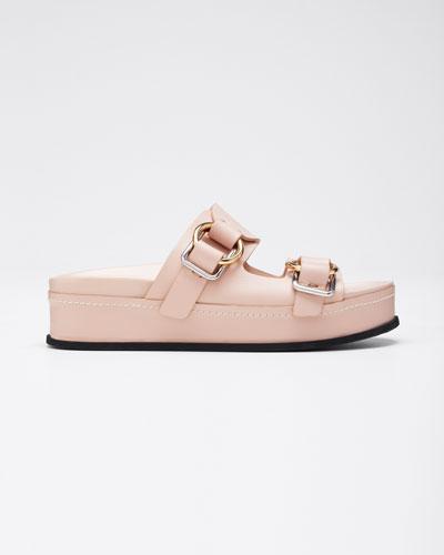 Freida Platform Double-Buckle Sandals