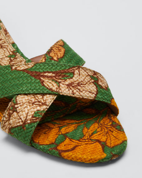 Lassie Floral Raffia Sandals, Green Pattern