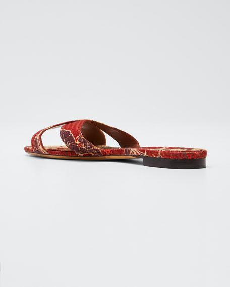 Lassie Floral Raffia Sandals, Red Pattern