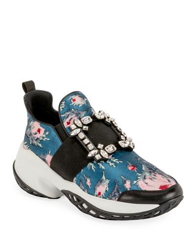 Viv' Run Crystal-Buckle Rose Jacquard Sneakers