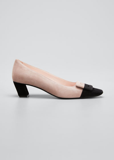 Belle Vivier 45mm Bicolor Suede Pumps