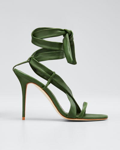 Tor Leather Ankle-Tie Stiletto Sandals