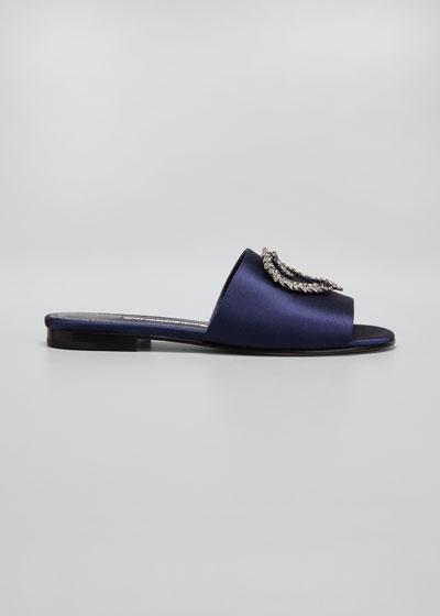 Elgar Silk Embellished Slide Sandals