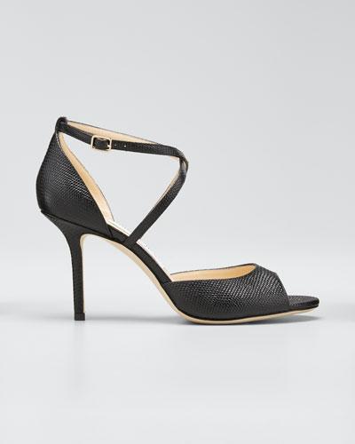 Emsy 85mm Lizard-Print Sandals