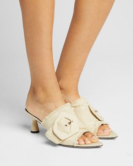 Lilly 60mm Linen Heeled Sandals