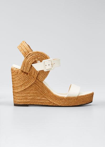 Delphi Leather Espadrille Wedge Sandals