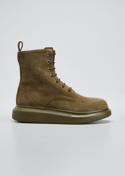 Suede Chelsea Chunky-Heel Boots