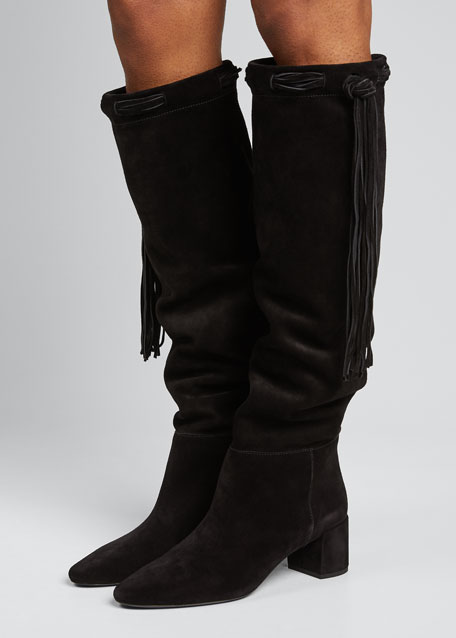 Laura Fringe Suede Knee Boots