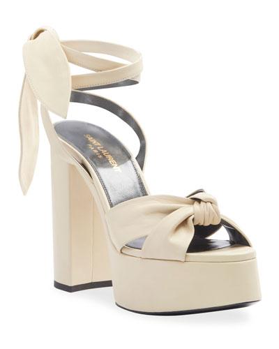 Bianca Knotted Leather Platform Sandals