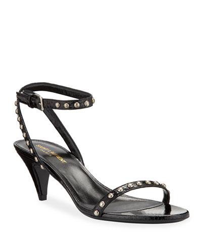 Kiki Studded Snake Ankle-Wrap Sandals