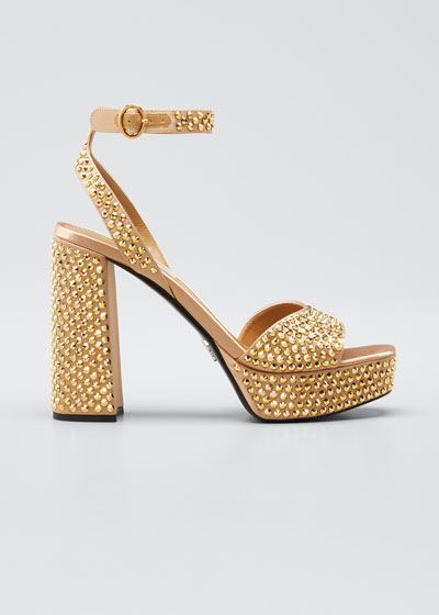 Crystal-Embellished Platform Sandals