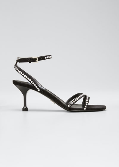Shimmery Studded Leather Ankle-Strap Sandals