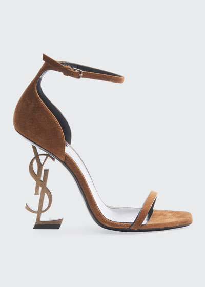 Opyum YSL-Heel Suede Sandals