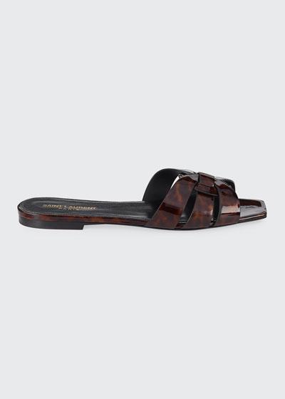 Nu Pieds Flat Woven Tortoise Patent Slide Sandals