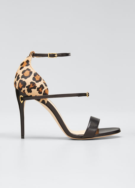 Rolando Leather & Leopard Ankle-Strap Sandals