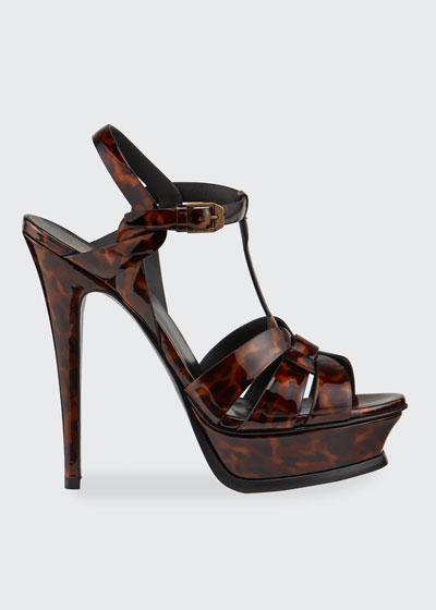 Tribute Tortoise-Print Patent Platform Sandals