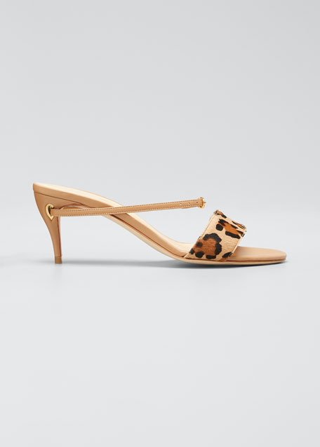 Andrea Leopard Pony Mule Sandals