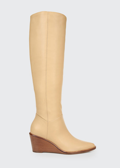 Marlow Heavy Leather Wedge Knee Boots