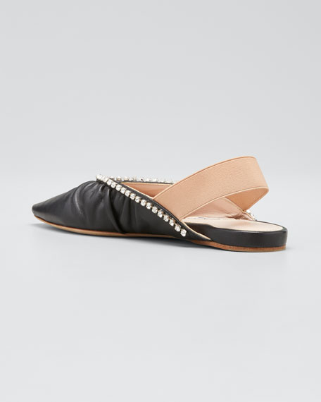 5mm Leather Pointed-Toe Slingback Flats