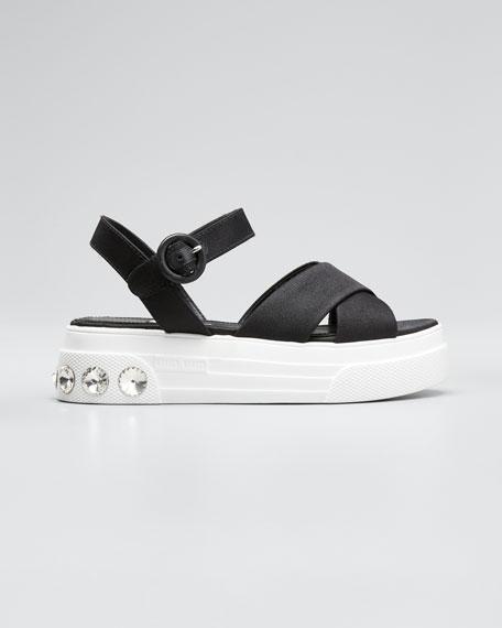 Canvas Flatform Sandals