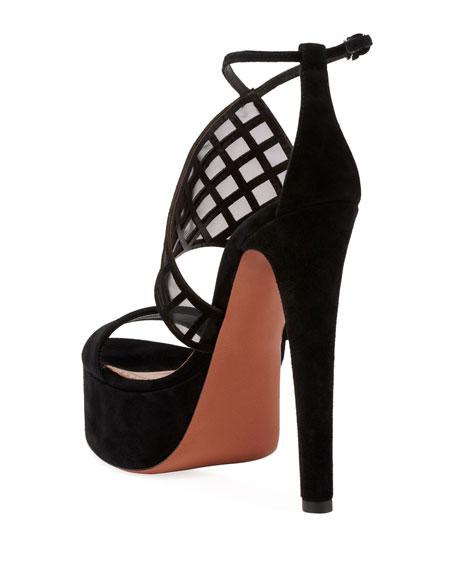 Suede Platform Ankle-Strap Sandals