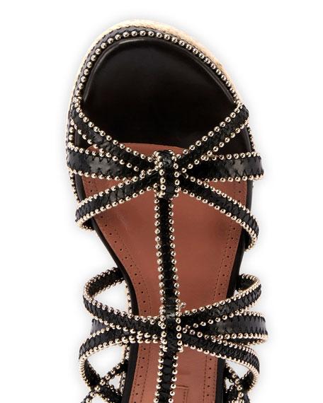 Studded Strappy Flatform Espadrille Sandals