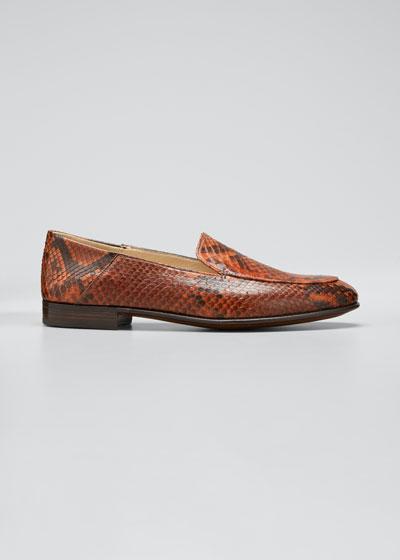 Flat Python Smoking Loafers