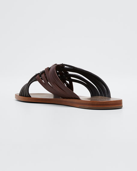 Monili and Leather Woven Sandals