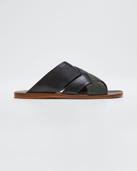 Flat Monili & Leather Crossover Sandals