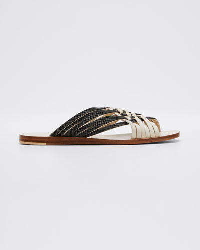 Monili and Leather Woven Slide Sandals