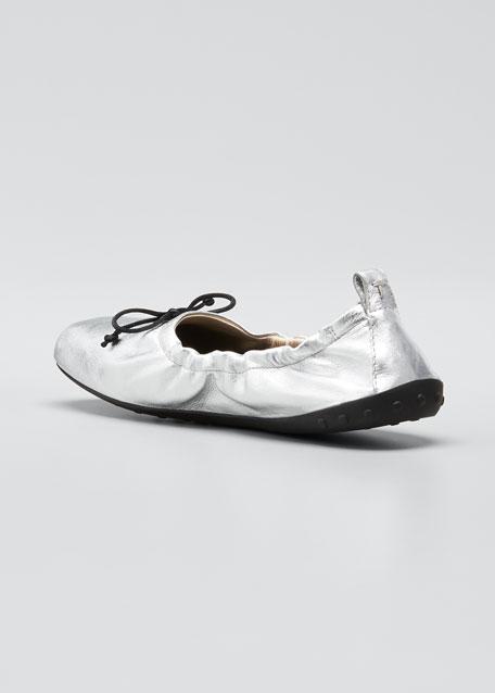 Laccetto Metallic Leather Ballerina Flats