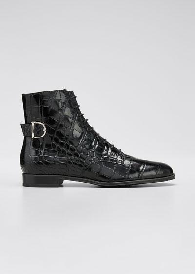 Mock-Croc Leather Combat Booties