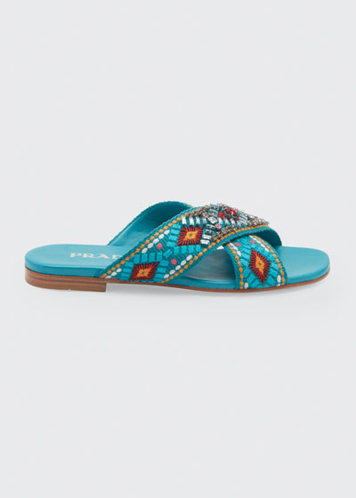 Jeweled Jacquard Flat Sandals