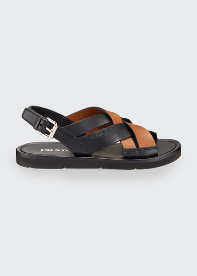 Colorblock Leather Flat Sandals