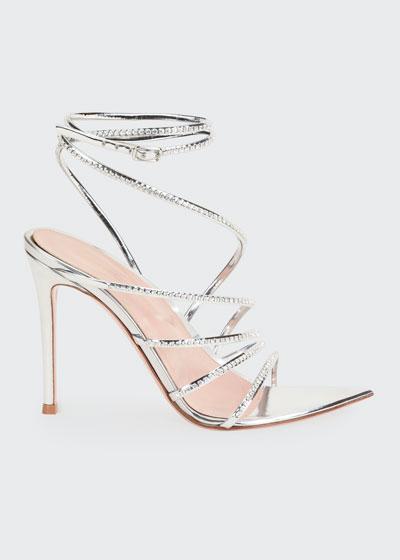 105mm Metallic Strappy Sandals
