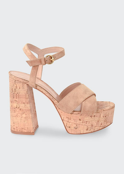 Cork and Suede Ankle Sandals