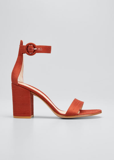 Shantung Ankle-Strap Sandals