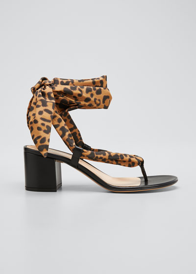Leopard Scarf Ankle-Tie Sandals