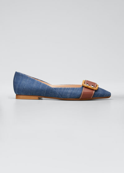 Allover Denim Skimmer Buckle Flats