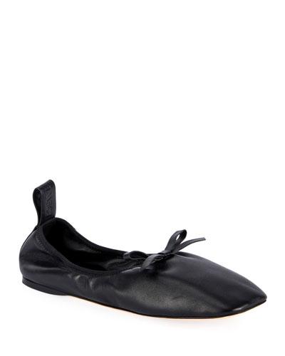 Soft Napa Bow Ballet Flats  Black