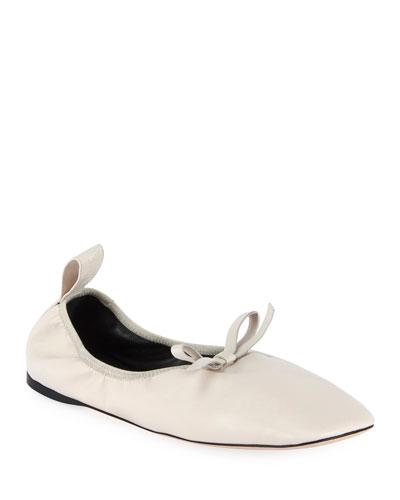 Soft Napa Bow Ballet Flats  White
