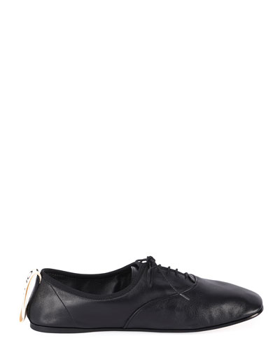 Soft Leather Derby Flats  Black