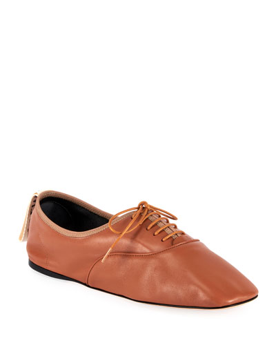 Soft Leather Derby Flats  Brown