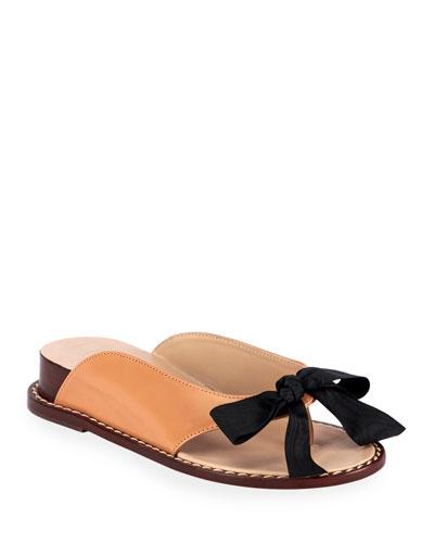 Demi-Wedge Bow Slide Sandals