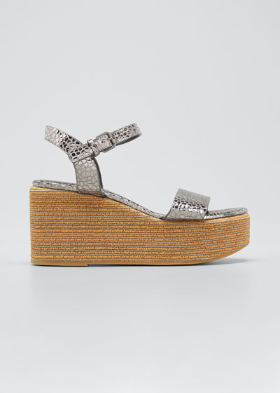 Metallic Ankle-Strap Wedge Espadrilles