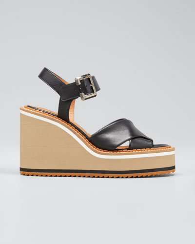 Noemie Crisscross Leather Wedge Sandals