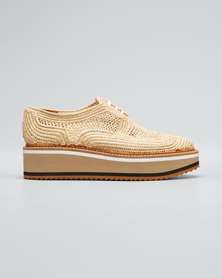 Birdie Raffia Platform Derby Shoes