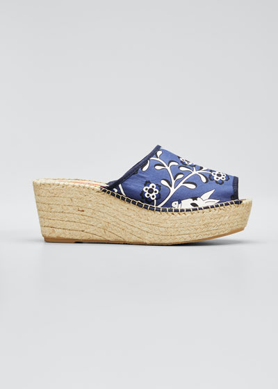 Brianda Floral-Print Wedge Espadrille Sandals